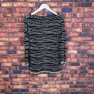 EILEEN FISCHER Womens Black Striped Knitted
